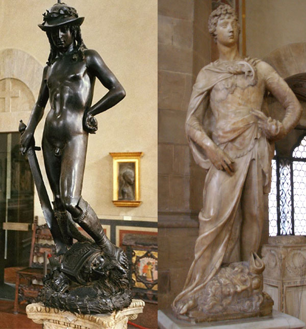 El David en bronce y en marmol. Fotos por Patrick A. Rodgers y Sailko CC BY-SA 2.0/2.5