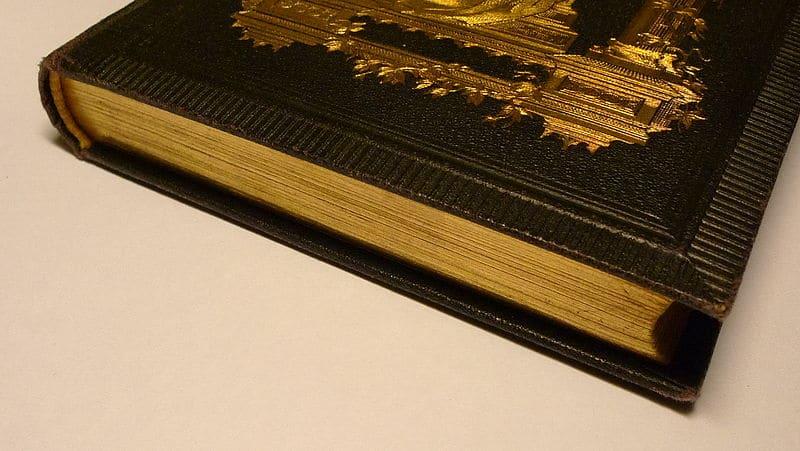 Libro antiguo con pan de oro. Foto por Anonimski