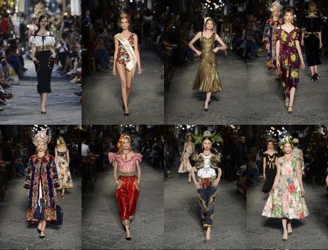Desfile de alta moda por Dolce & Gabbana en Napoles, Italia